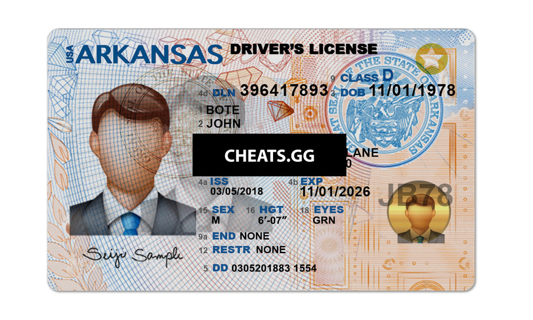 Arkansas Driver License PSD Template