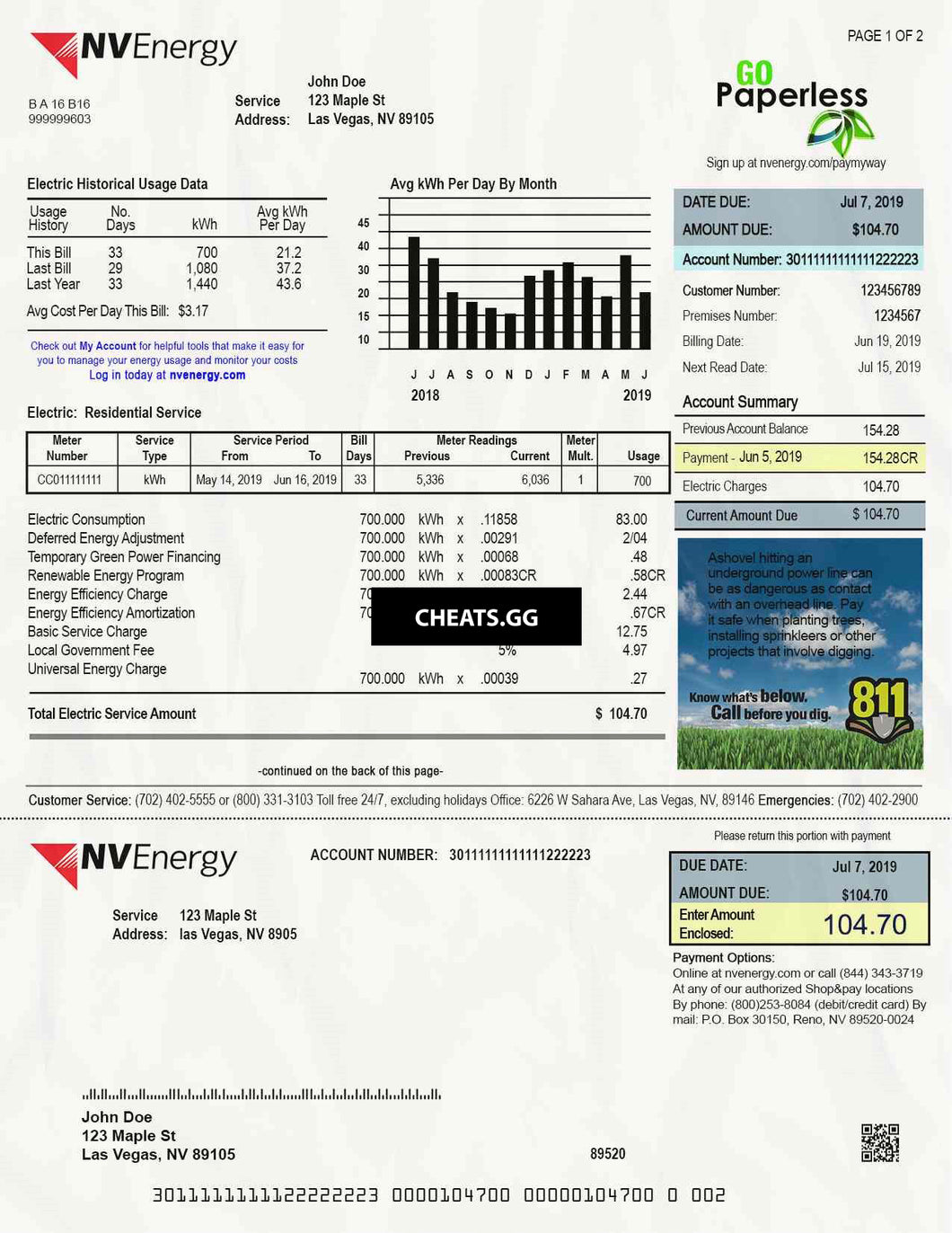 Nevada Utility Bill PSD Template: Nevada Proof Of Address PSD Template
