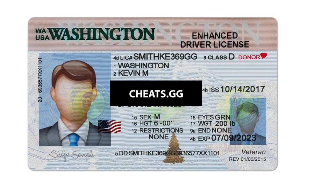 Washington Driver License PSD Template