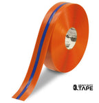 "2"" Orange Tape with Blue Center Line - 100' Roll - FloorTapeOutlet.com"