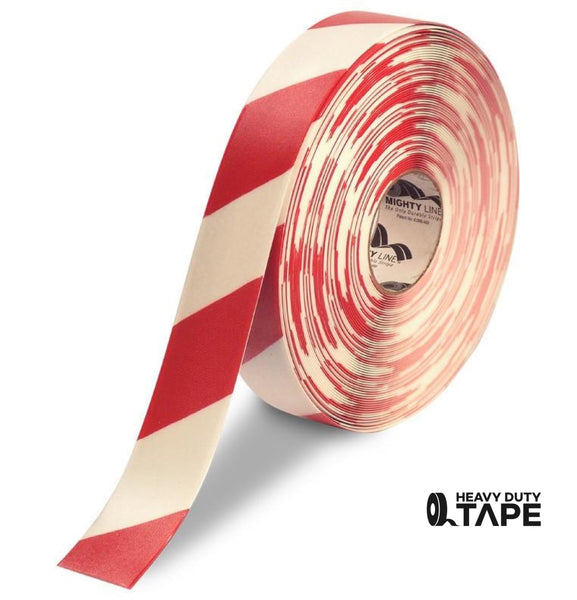 "2"" White Tape with Red Chevrons - 100' Roll - FloorTapeOutlet.com"