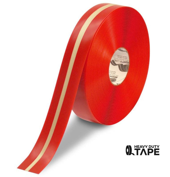 "2"" Red Mighty Glow with Luminescent Center Line - 100' Roll - FloorTapeOutlet.com"