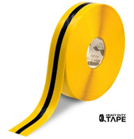 "2"" Yellow Tape with Black Center Line - 100' Roll - FloorTapeOutlet.com"