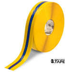 "2"" Yellow Tape with Blue Center Line - 100' Roll - FloorTapeOutlet.com"