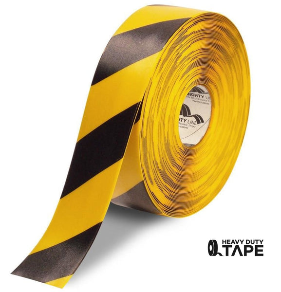 "3"" Yellow Tape with Black Chevrons - 100' Roll - FloorTapeOutlet.com"