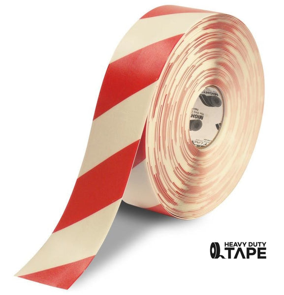 "3"" White Tape with Red Chevrons - 100' Roll - FloorTapeOutlet.com"
