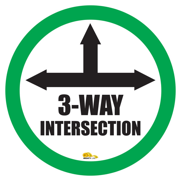"3 Way Intersection Mighty Line Floor Sign, Industrial Strength, 24"" Wide"