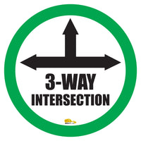"3 Way Intersection Mighty Line Floor Sign, Industrial Strength, 16"" Wide"