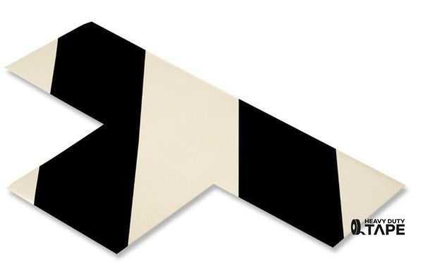 "3"" Wide Solid WHITE T With Black Chevrons - Pack of 25 - FloorTapeOutlet.com"