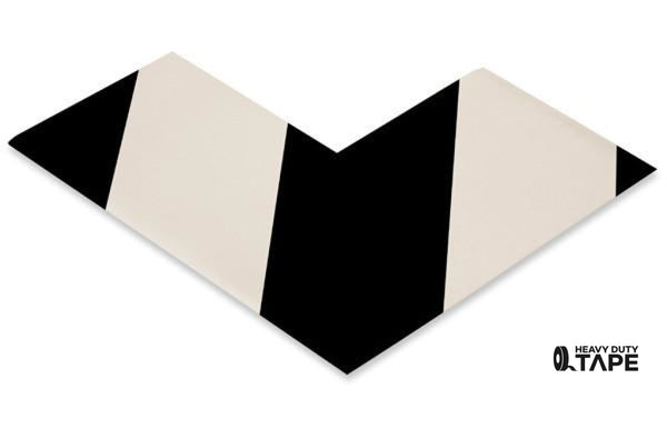 "3"" Wide Solid White Angle With Black Chevrons - Pack of 25 - FloorTapeOutlet.com"