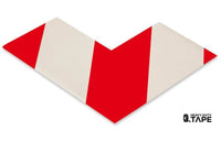 "3"" Wide Solid White Angle With Red Chevrons - Pack of 25 - FloorTapeOutlet.com"