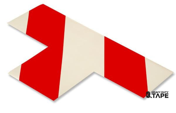 "3"" Wide Solid WHITE T With Red Chevrons - Pack of 25 - FloorTapeOutlet.com"