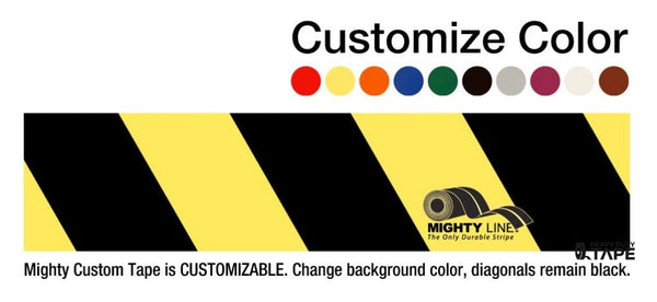 Customized - 4 Repeating Message Floor Tape With Black Diagonals 1 Roll