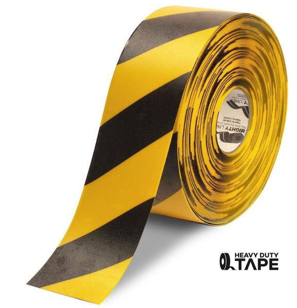 "4"" Yellow Tape with Black Chevrons - 100'  Roll - FloorTapeOutlet.com"