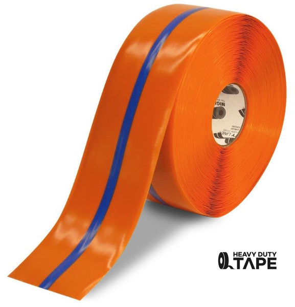 "4"" Orange Tape with Blue Center Line - 100'  Roll - FloorTapeOutlet.com"