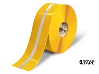 "4"" Yellow with Reflective Center Line - 75' Roll - Safety Floor Tape - Mighty Line Floor Tape"