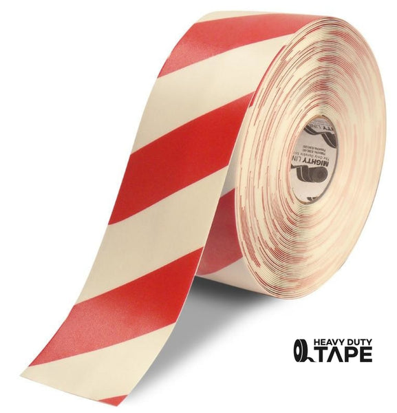 "4"" White Tape with Red Chevrons - 100'  Roll - FloorTapeOutlet.com"
