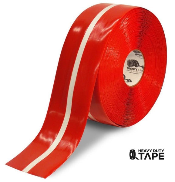 "4"" Red Tape with White Center Line - 100' Roll - FloorTapeOutlet.com"