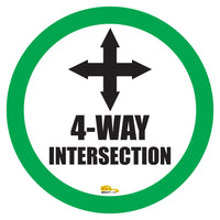 "4 Way Intersection Mighty Line Floor Sign, Industrial Strength, 16"" Wide"
