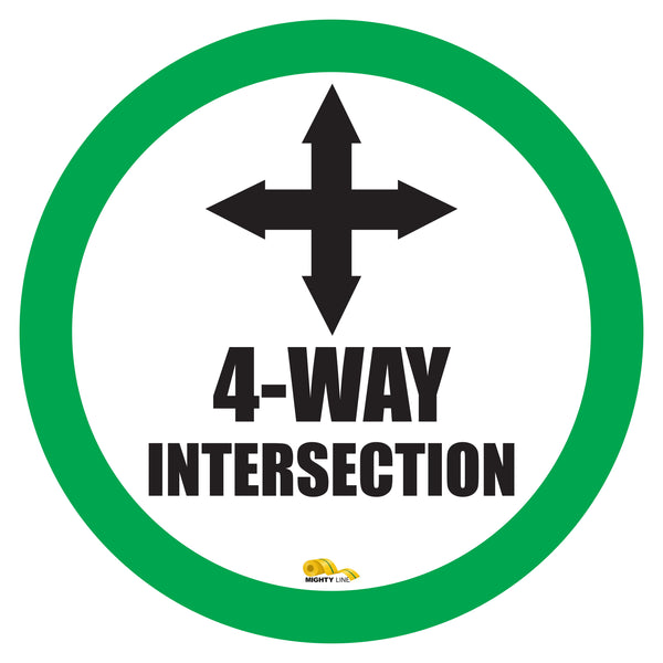 "4 Way Intersection Mighty Line Floor Sign, Industrial Strength, 24"" Wide"