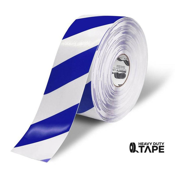 Mighty Line Diagonal Floor Tape 4 Inch White/blue 100 Roll Product
