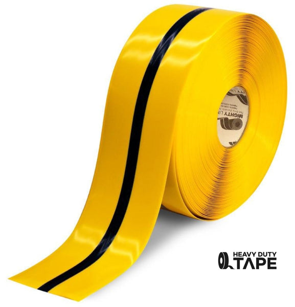 "4"" Yellow Tape with Black Center Line - 100' Roll - FloorTapeOutlet.com"