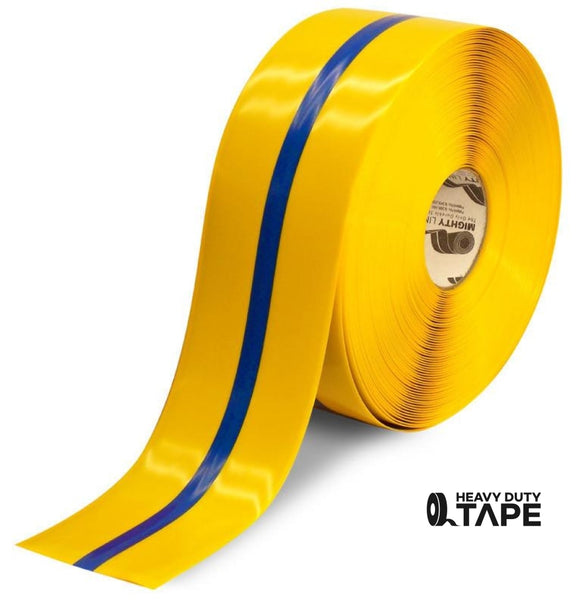 "4"" Yellow Tape with Blue Center Line - 100' Roll - FloorTapeOutlet.com"