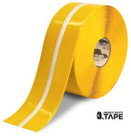 "4"" Yellow MightyGlow with Luminescent Center Line - 100' Roll - FloorTapeOutlet.com"