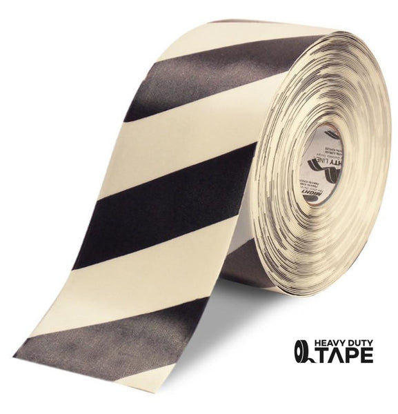 "6"" White Tape with Black Chevrons - 100'  Roll - FloorTapeOutlet.com"