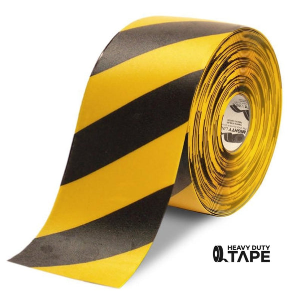 "6"" Yellow Tape with Black Chevrons - 100' Roll - FloorTapeOutlet.com"
