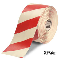 "6"" White Tape with Red Chevrons - 100'  Roll - FloorTapeOutlet.com"