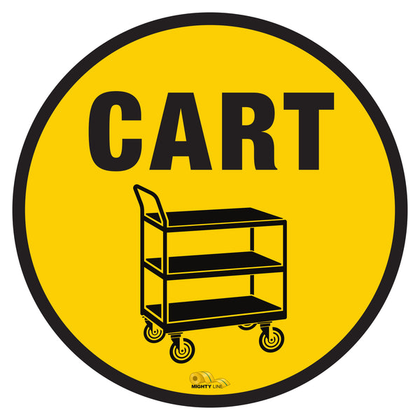 "Push Cart Mighty Line Floor Sign, Industrial Strength, 24"" Wide"