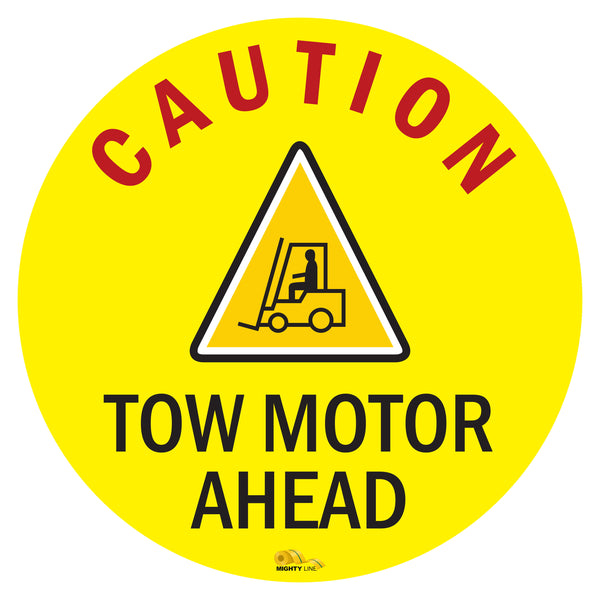 "Caution Tow Motor Ahead, Mighty Line Floor Sign, Industrial Strength, 36"" Wide"