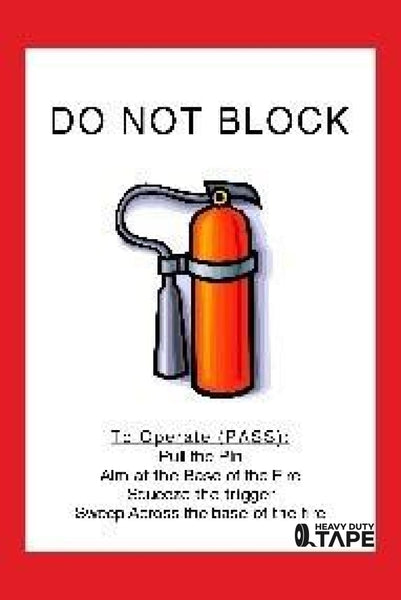 Do Not Block Fire Extinguisher Product