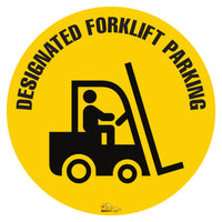 "Designated Fork Lift Parking, Mighty Line Floor Sign, Industrial Strength, 24"" Wide"