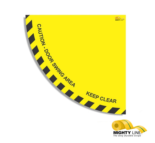 Caution Door Swing Area 36' Yellow