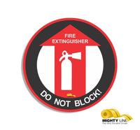 "Fire Extinguisher Do Not Block, Mighty Line Floor Sign, Industrial Strength, 36"" Wide"