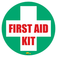 "First Aid Kit, Mighty Line Floor Sign, Industrial Strength, 12"" Wide"