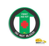 "First Aid Kit Do Not Block, Mighty Line Floor Sign, Industrial Strength, 12"" Wide"