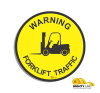"Warning Fork Lift Traffic, Mighty Line Floor Sign, Industrial Strength, 24"" Wide"