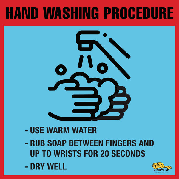 Virus Prevention  - Hand Washing Instructions Floor Sign