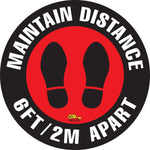 Virus Prevention - Maintain Distance Safety Floor Sign