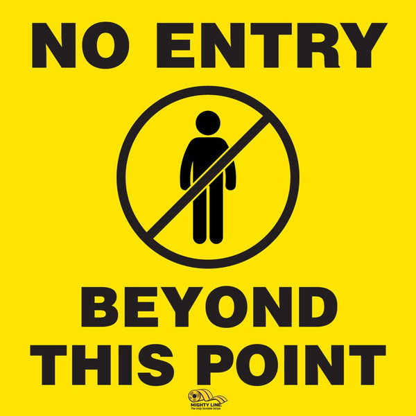 Virus Prevention - No Entry Beyond This Point Floor Sign