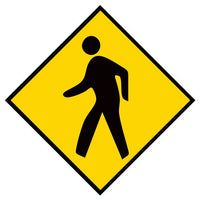 "Pedestrian Yellow, Mighty Line Floor Sign, Industrial Strength, 36"" Wide"