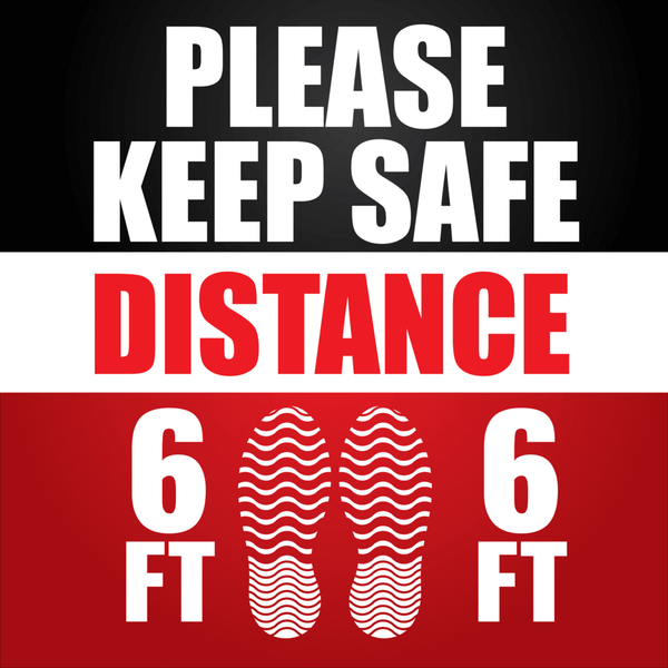 Virus Prevention - Please Keep Safe Distance Safety Floor Sign