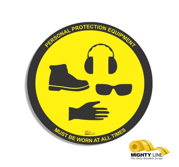 "PPE Required, Mighty Line Floor Sign, Industrial Strength, 36"" Wide"
