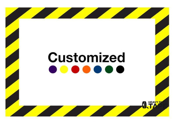 Customized - Horizontal Rectangle Shape Floor Sign With Black Diagonals