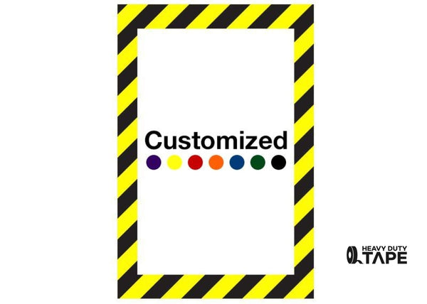 Customized - Vertical Rectangle Shape Floor Sign With Black Diagonals