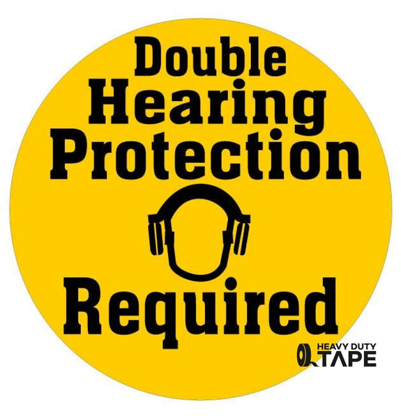 Double Hearing Protection Sign - FloorTapeOutlet.com