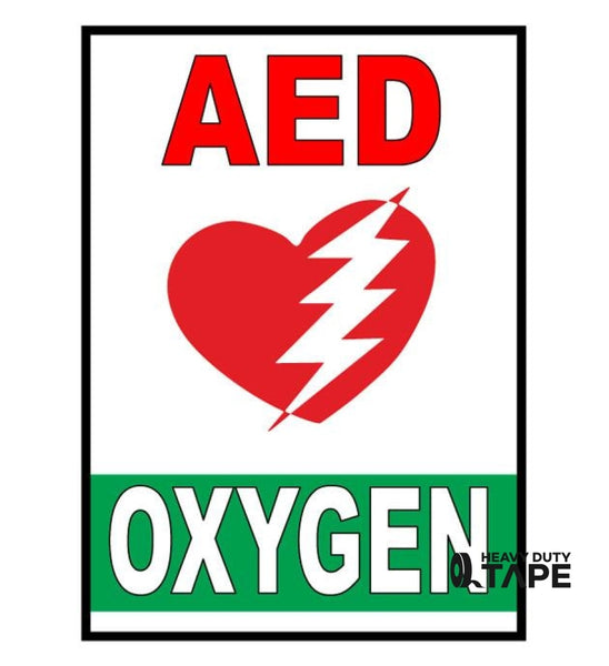 Copy of AED Oxygen Safety Sign - FloorTapeOutlet.com